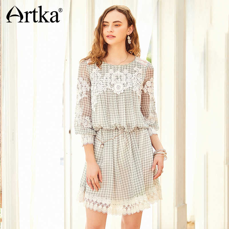 ARTKA קיץ 2018 חדש נשים תחרה תפרים רקום שרוול פנס רופף משובץ מיני שמלת SA11083C
