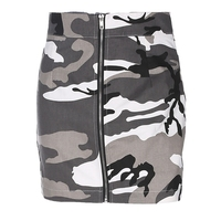 2018 Sexy Camouflage Skirts High Waist Slim Front Zipper Camouflage Jeans Mini Skirt Woman Streetwear Bodycon