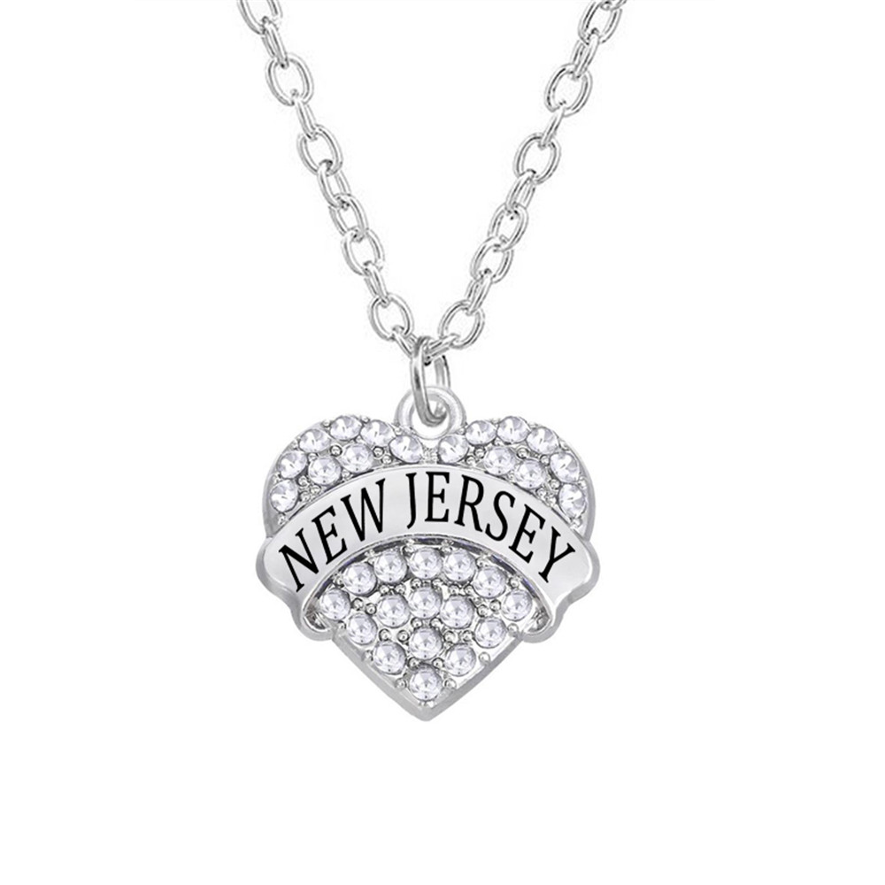Fashion us state women jewelry rhinestone hearts new jersey state fashion us state women jewelry rhinestone hearts new jersey state words charm necklace in pendant necklaces from jewelry accessories on aliexpress aloadofball Images