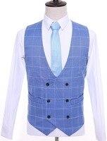 2018 Wedding Grey Plaid Men vests custom made Vintage Groom vest mens slim fit tailor made wedding vests for men