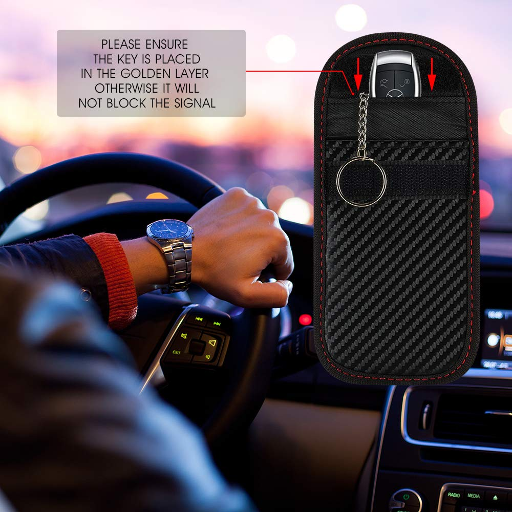 Car Key Signal Blocker Case 2 Pack Key Fob Protector Antitheft Lock Devices Car Key Protector WiFi GSM LTE NFC RF Blocker in Key Case for Car from Automobiles Motorcycles