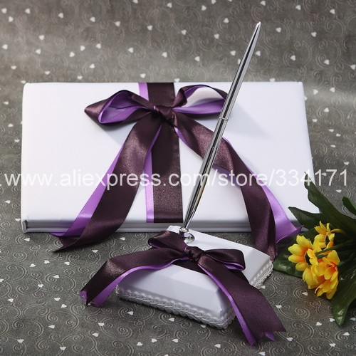 Free Shipping Satin with purple Double Ribbon Wedding Guestbook and Pen Set Wedding 1048