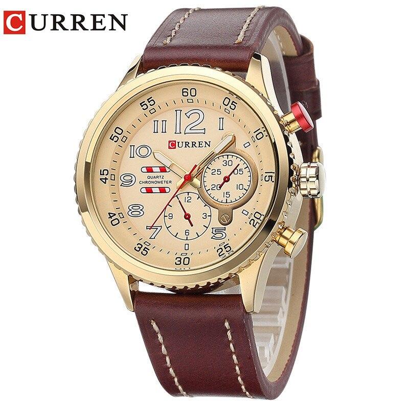 CURREN2017 Neue Echtlederband Goldgeschäfts-quarz-luxus-sport-uhr Männer Marke Uhr relogio masculino 8179