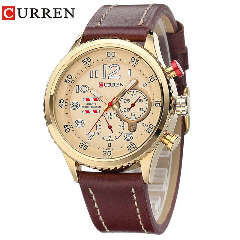 CURREN2017 New Genuine Leather Strap Gold Business Watch Quartz Luxury Sport Watch Men Brand Watch relogio masculino 8179
