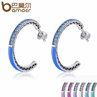 BAMOER 925 Sterling Silver Radiant Hearts 7 Color Enamel Clear Hoop Earrings For Women Sterling Silver