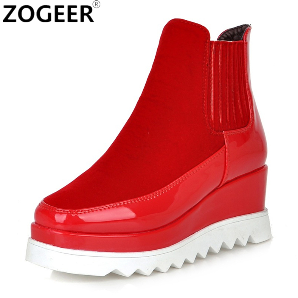Winter Wedges Snow Boots Women Fashion High heel Platform Ankle Boots For Women Sexy Red Black Height Increasing Shoes Woman цена