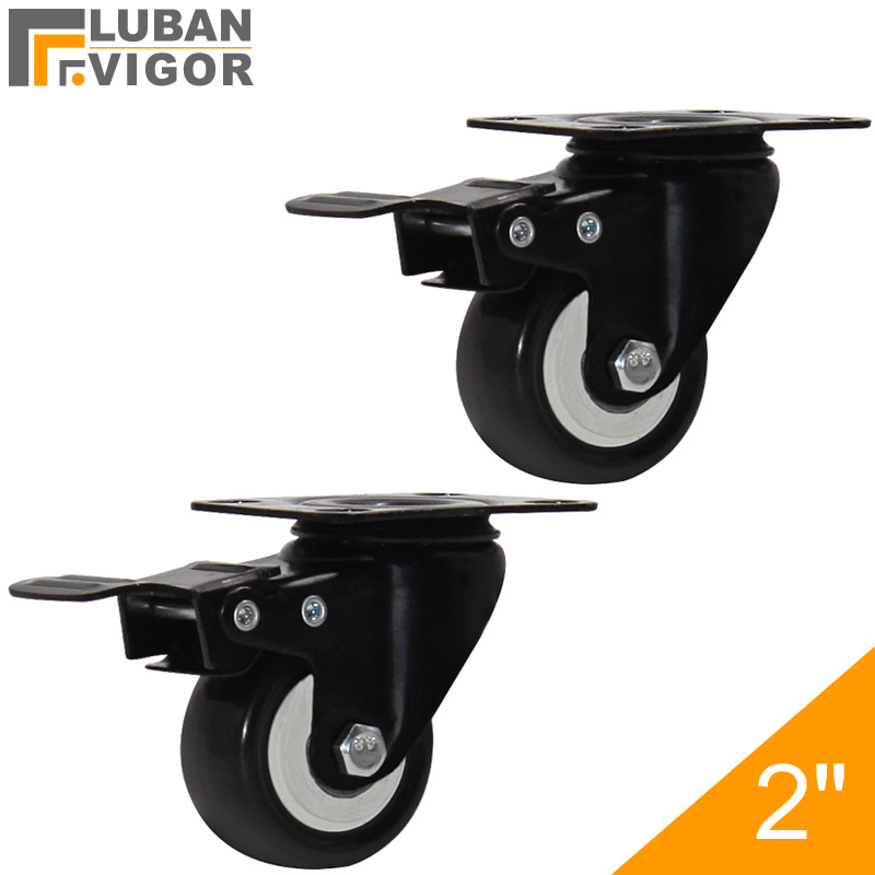 Export quality,High load-bearing,2-inch PU Casters With brake, Mute Industrial Trolley/flat wheels,Industrial Hardware