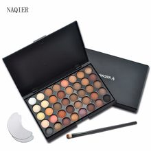 NAQIER Eye Makeup Nudes Palette 40 Color Matte Eyeshadow Pallete glitter powder Eye Shadow Earth shadows brush set stamp pigment(China)