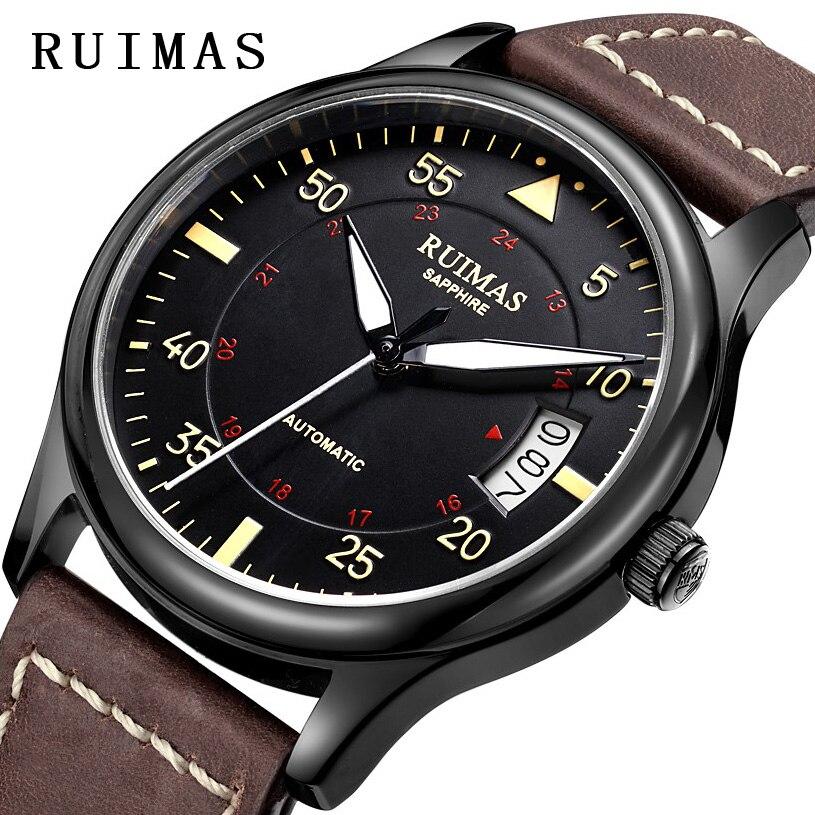 Homens Relógio Pulseira De Couro de Negócios de moda Movt Japão Automático Relógios Mecânicos RUIMAS Erkek Kol Saati Relógio Masculino relógios de Pulso