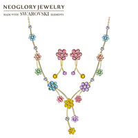 Neoglory MADE WITH SWAROVSKI ELEMENTS Rhinestone Jewelry Set Colorful Flower Design Party For Women Trendy Necklaces & Earrings