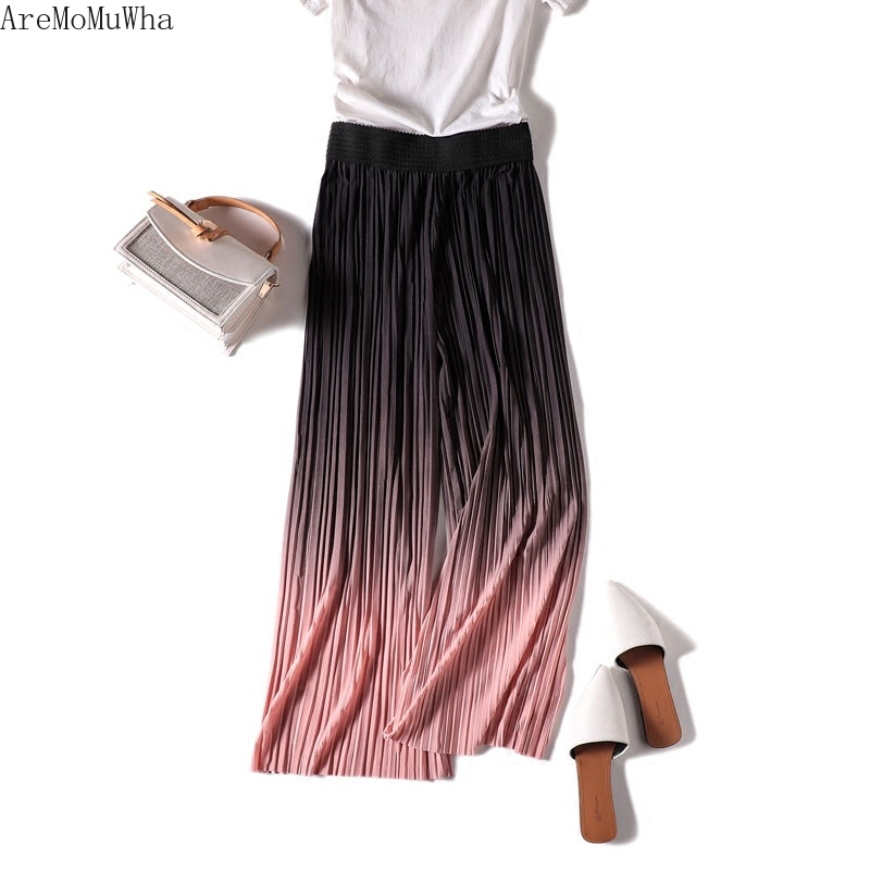 AreMoMuWha New Summer Women Chiffon Wide Leg Pant Fashion Ankle-Length Pleated Pant Female Eastic Waist Thin Pants Trousers