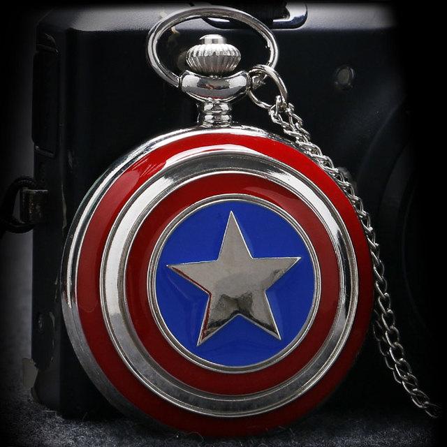 Classic Cool Captain America Icon Fob Quartz Pocket Watches with Silver Necklace