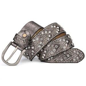 Image 3 - Niet Vintage Luxus Designer Punk Set Auger Gürtel Frauen Hohe Qualität Weibliche Echte echtem Leder Taille Handgemachte Strap für Jeans