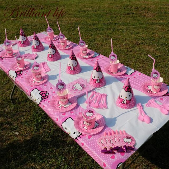 Us 42 16 34 Off 252 Pcs Lot Hello Kitty Tema Anak Gadis Pesta Ulang Tahun Cup Piring Hadiah Tas Permen Kotak Dekorasi Pernikahan Ledakan Tanduk