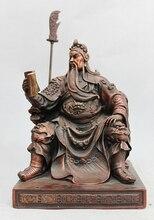 China Pure Bronze Dragon Sit Guan Gong Guan Yu Dragon Knife Warrior God Statue  Copper garden decoration
