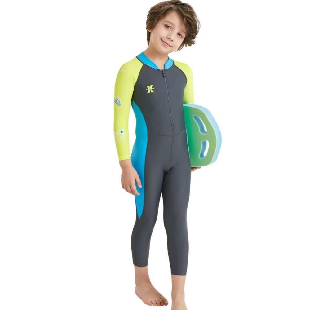 Sıcak tek parça çocuklar dalgıç kıyafeti çocuk tam vücut Wetsuit sıcak tutmak uzun kollu Uv koruma mayo sörf şnorkel