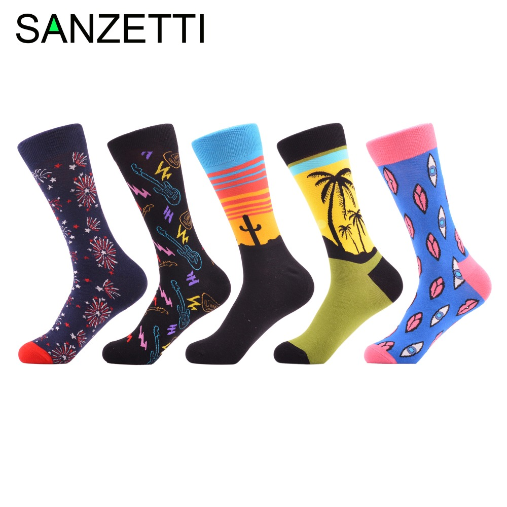 Sanzetti 5 Pairs/lot New Arrival Mens Funny Combed Cotton Colorful Socks Casual Fireworks Lips Pattern Crew Novelty Street Wear Men's Socks