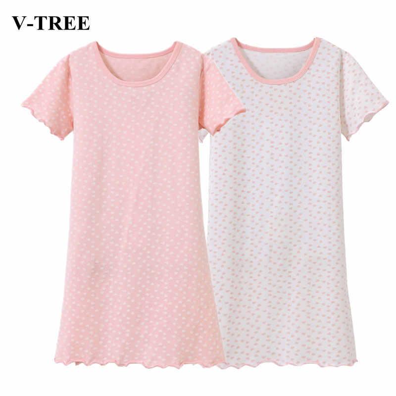 fecf4e0c28be094 Однотонная одежда для сна в горошек Ночные сорочки для девочки летние  детские пижамы От 2 до