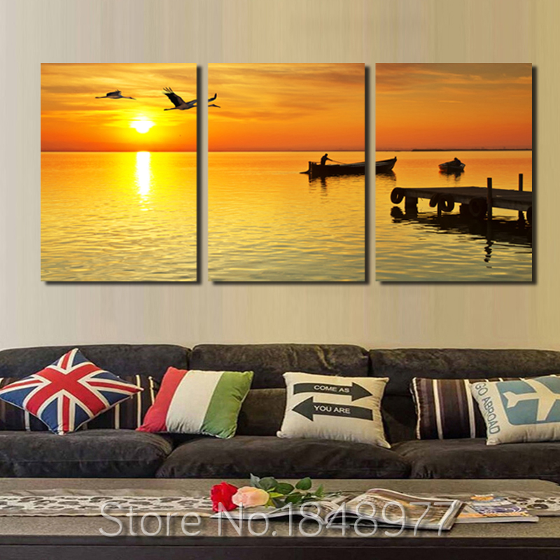 3 panels modern sea sunset boat canvas wall art printed on canvas ...
