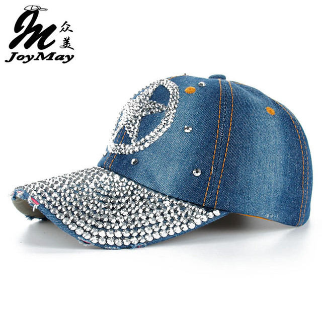 Stars Rhinestones Cap  Cowboy Baseball Cap Outdoor Sport Denim Jeans Hip Hop New Pattern Cotton Wash Lining Casual Sanpback Hats