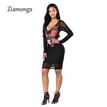 Ziamonga Women Winter Dress New Autumn Elegant Slim Party Sexy Dresses Long Sleeve Vintage Embroidery Lace Bandage Dress