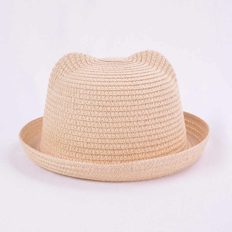 abe75bbf ... Fashion Lovely Girls Boys Straw Hats Headdress Summer Baby Sun Hat Cute  Ear Solid Floppy Beach ...