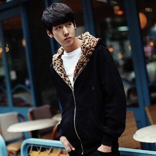 S-4XL New men's autumn and winter hoodies Korean version of hip hop leopard fashion men's personality hoodies plus size