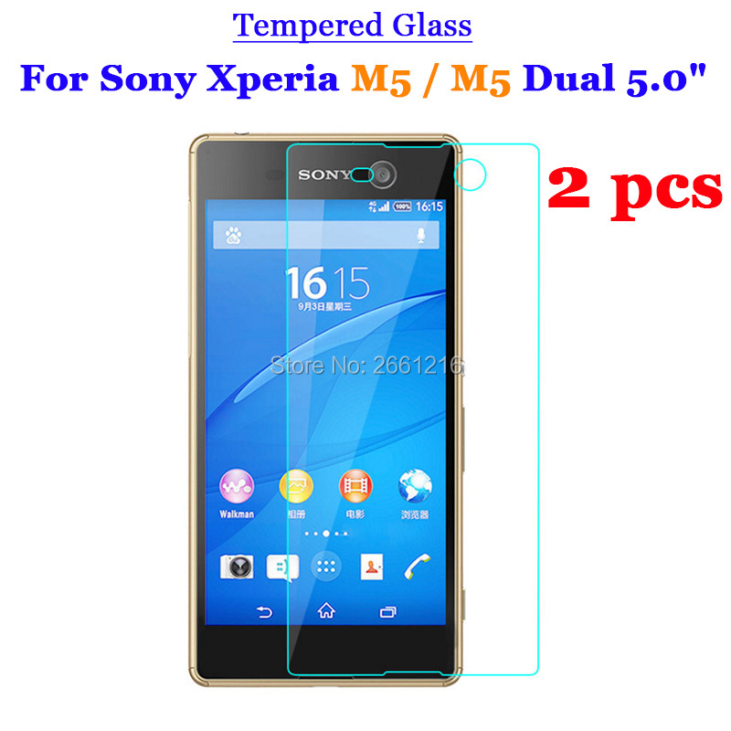 2 Pcs/Lot For Sony Xperia M5 Tempered Glass 9H 2.5D Premium Screen Protector Film For Sony Xperia M5 / M5 Dual 5.0