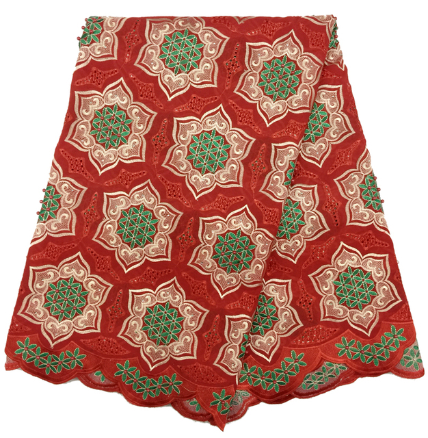 2016 Latest African Dry Lace Cotton Fabrics Embroidered High Quality  Nigerian Swiss Voile Lace Fabric With