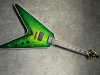green quitled maple top Unusual Shaped Flying V Electric Guitar,maplewood Fingerboard flying v guitar,Offer Customized