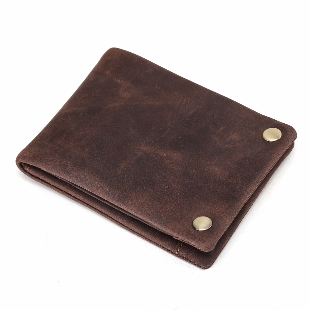 TIDING Full grain leather wallets men coin slim short bifold money clip simple and sleek style