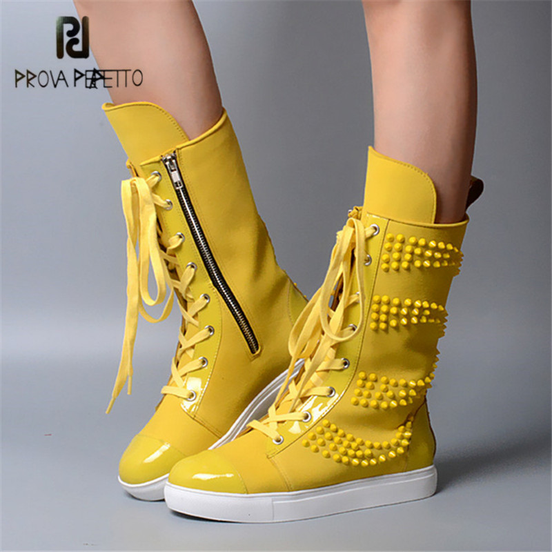Prova Perfetto Yellow Women Mid-Calf Boots Fashion Rivets Studded Riding Boots Lace Up Flat Shoes Woman Platform Botas Militares riding boots chunky heels platform faux pu leather round toe mid calf boots fashion cross straps 2017 new hot woman shoes
