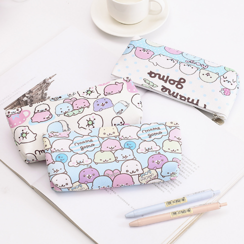 1Pcs Cartoon Dolphin New 2018 Pencil Case PU Material For Student Gift Pencil Bag Stationery Office Supplies 063