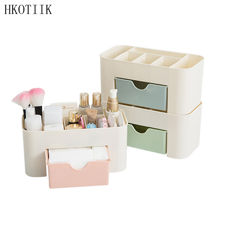 HKOTIIK fashion Women Cosmetics Case Storage Cosmetics box Beautician Essential sort out Beautify Desktop Makeup Case Organizer