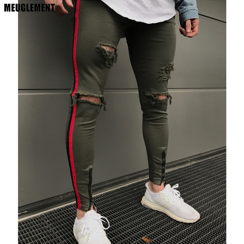 Men's Clothing Amicable 2018 Street Men Knee Eversion Ripped Big Hole Men Jeans Streetwear Skateboard Straight Hip Hop Pants Man Casual Elastic Jeans To Be Highly Praised And Appreciated By The Consuming Public