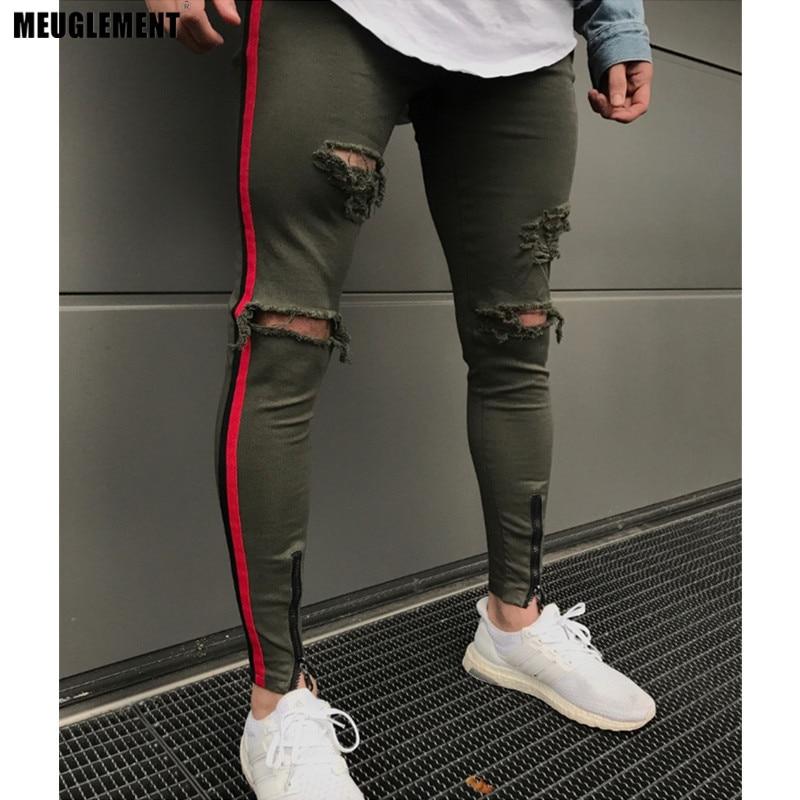 Pflichtbewusst 2018 Straße Männer Knie Eversion Ripped Big Loch Männer Jeans Streetwear Skateboard Gerade Hip Hop Hosen Mann Casual Elastische Jeans