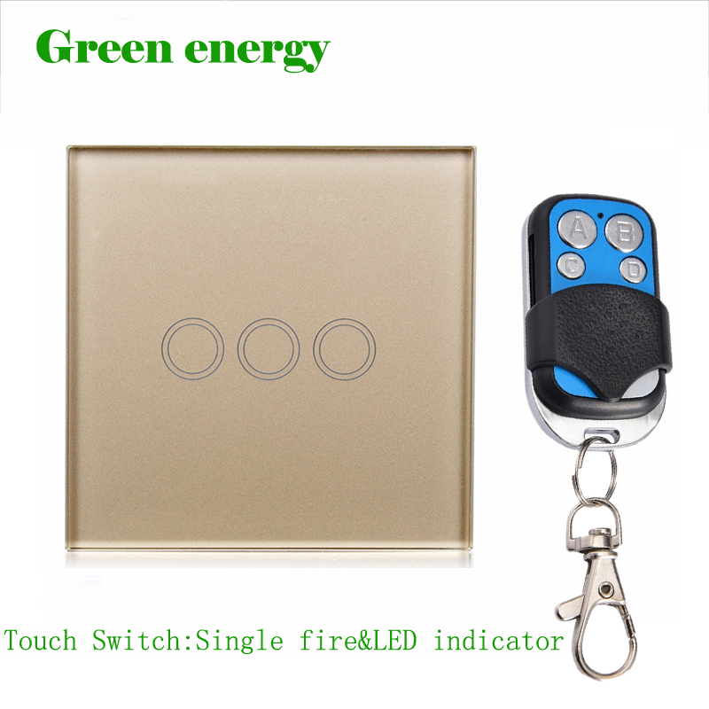 MiniTiger Smart Switch, Goden Crystal Glass Panel, Remote Control EU/UK Switch & LED Indicator,touch light switch us 1gang hotel tempered glass panel smart house wall light switch remote control switch touch control light switch led indicator