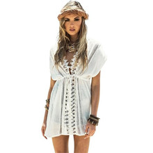 9a7e8611cf Women White Loose Dresses Sexy Lace Crochet Bikini Swimwear Deep V Hollow  Out Beach Dress(