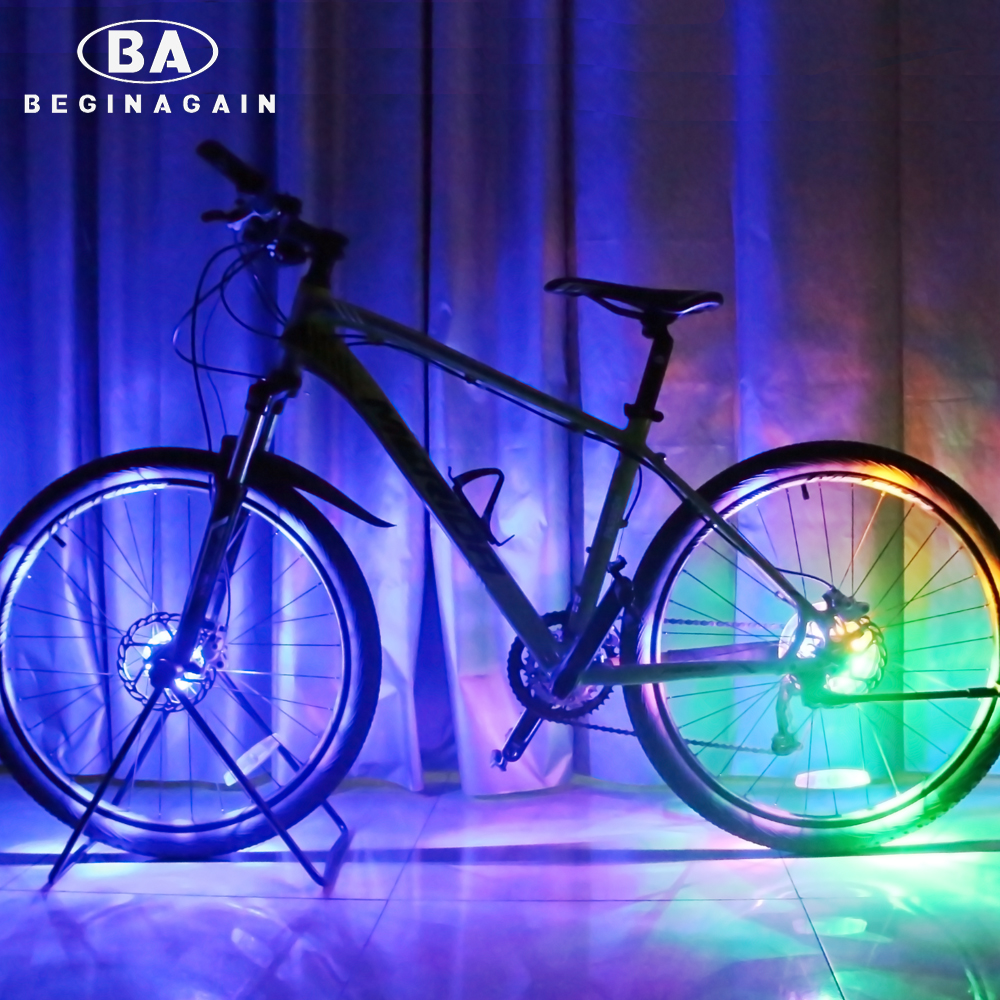 BEGINAGAIN Bike Cycling Hubs Lights Front/Rear Bicycle Light Spoke Decoration Warning LED Wheel Lamp Waterproof Bike Accessories wheel up waterproof bike bicycle lights mtb bicycle front head light rear lamp xc 215 xc 235r 2018