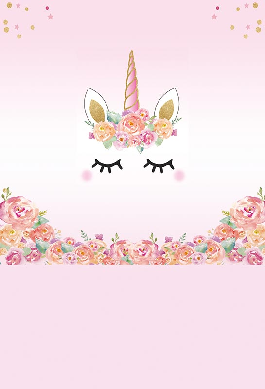 5x7ft Pink Flowers Gold Coins Gold Unicorn Mask Face Baby