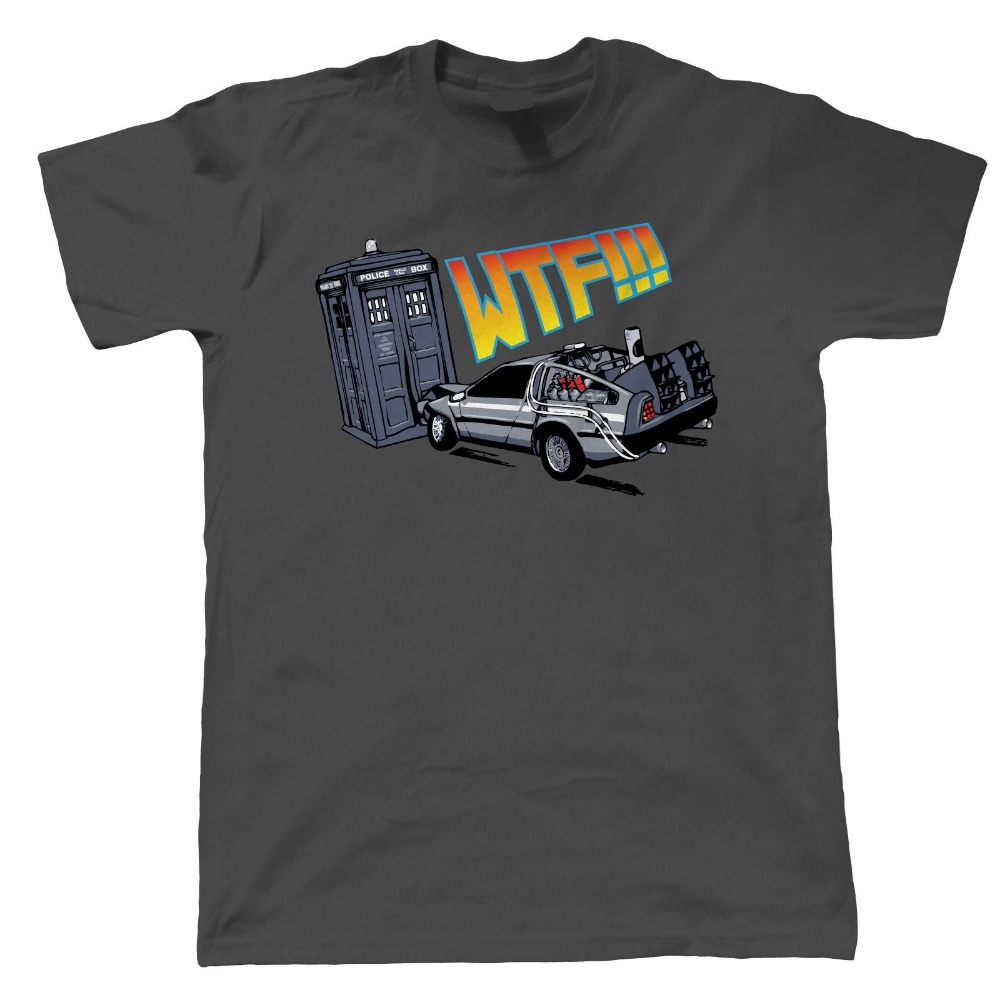 WTF Tardis V Delorean Crash T Shirt Dr Who Back To The Future Mens Fashion Printed Cotton Top Tee Summer Style Hip Hop Shirts