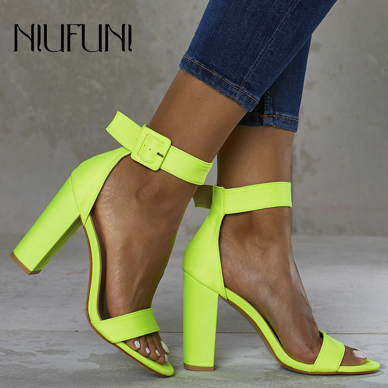 Fluorescence Women's Sandals Fashion Plus Size 42 Solid Color Sexy Thick High Heels 2020 Summer Belt Buckle Ladies Casual Shoes