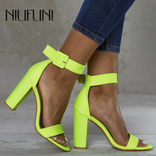 Fluorescence Womens Sandals Fashion Plus Size 42 Solid Color Sexy Thick High Heels 2019 Summer Belt Buckle Ladies Casual Shoes