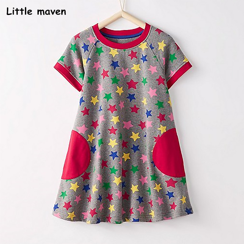 Little maven 2018 new summer baby girls brand dress kids Cotton star print short sleeve dresses S0319 plus star print surplice wrap dress