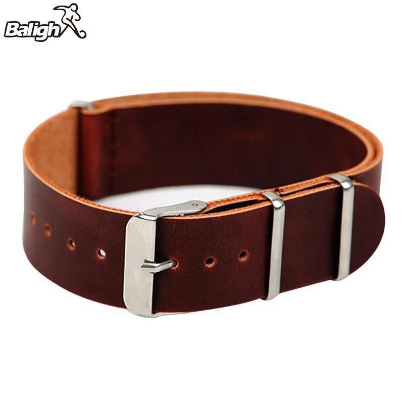 Yeni moda erkek hakiki deri askeri saat kayışı (3 yüzük) tasarım Band paslanmaz çelik toka Watchband 18-22mm