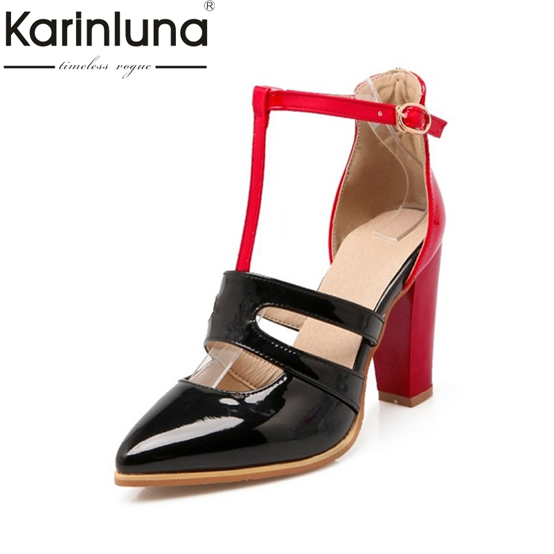 KarinLuna Big Size 34-43 Pointed Toe Roman Style Women Pumps Sexy Ankle Strap Rivets High Heels Woman Summer Party Shoes doratasia embroidery big size 33 43 pointed toe women shoes woman sexy thin high heels brand pumps party nightclub