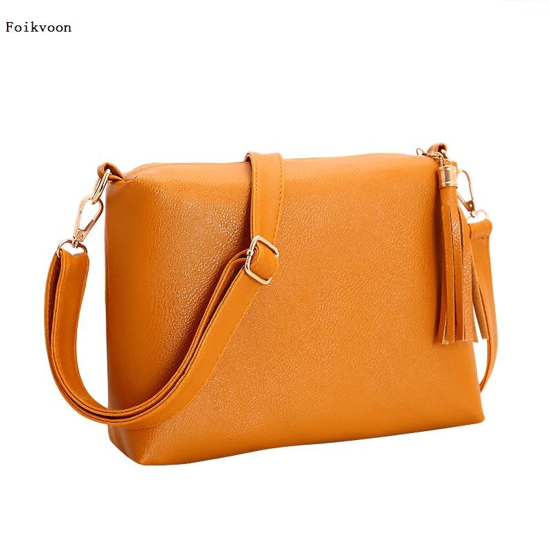 Foikvoon Popular Handbags Mini PU Messenge Bag Small Diagonal Women One Shoulder Tassel Bags 2018 Hot sale