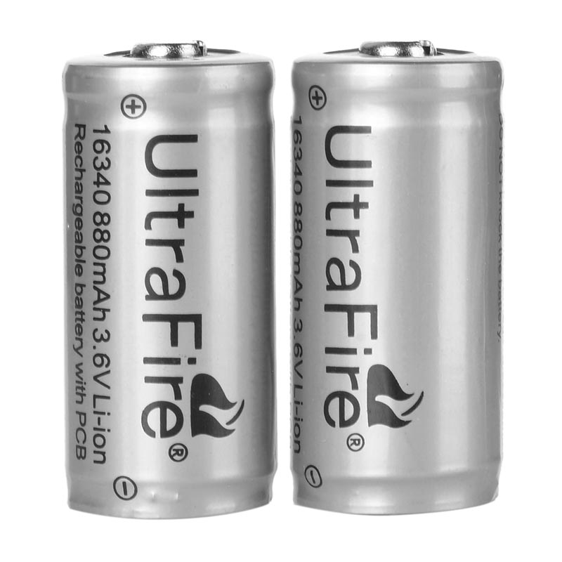 2pcs/ lot high quality 3.6V 880mAh LC 16340 Protected CR123A Battery Rechargeable Lithium Battery for LED Flashlight etc.2pcs/ lot high quality 3.6V 880mAh LC 16340 Protected CR123A Battery Rechargeable Lithium Battery for LED Flashlight etc.