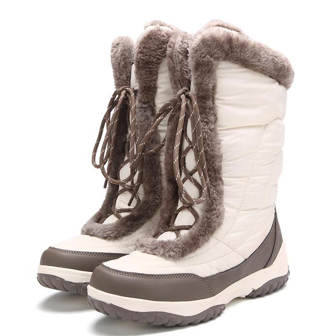 Kobiety zimowe pełne ziarno skórzane krótkie pluszowe wodoodporne śnieg buty z prawdziwej skóry o grubości ciepłe sznurowane na co dzień Anti buty z wełny w Buty do połowy łydki od Buty na  Grupa 1