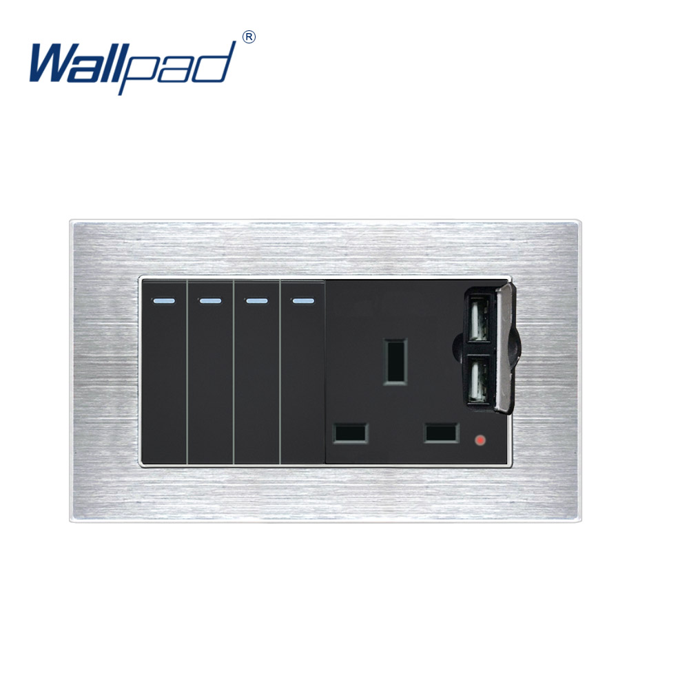 4 Gang 2 Way Switch With 3 Pin Uk Socket 2 Usb Charger